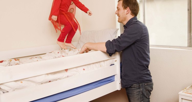 Debunking a bunk bed gives you room under the bed that you can use for just about anything.