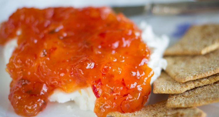 Red Apricot Pepper Jelly Served over cream cheese
