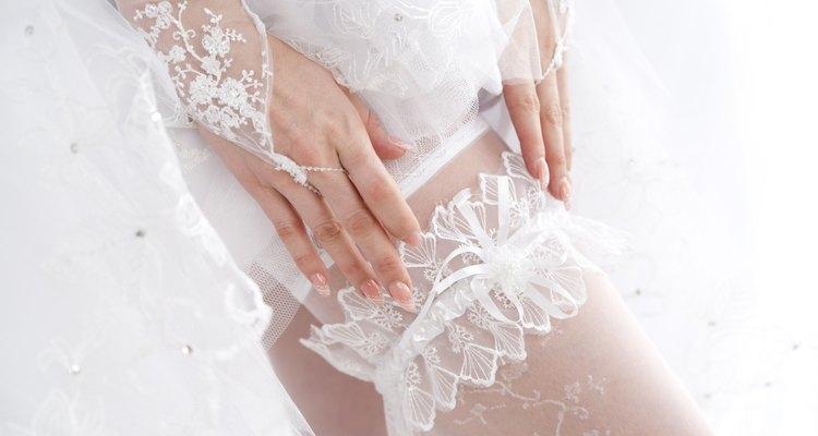 Garter on the leg of a bride