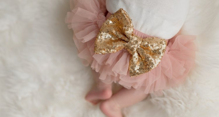 Sparkly Sequin Bow on a Baby Girl's Bottom