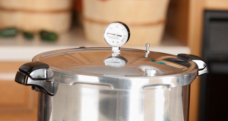 Canning: Pressure Cooker used for Preserving Homegrown Fruits Vegetables
