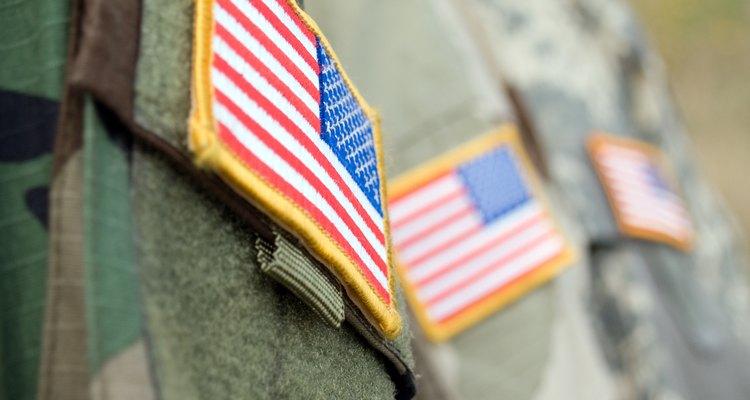 America flag on badges of soldiers' sleeves