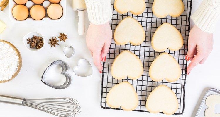 Baking heart shaped sugar cookies