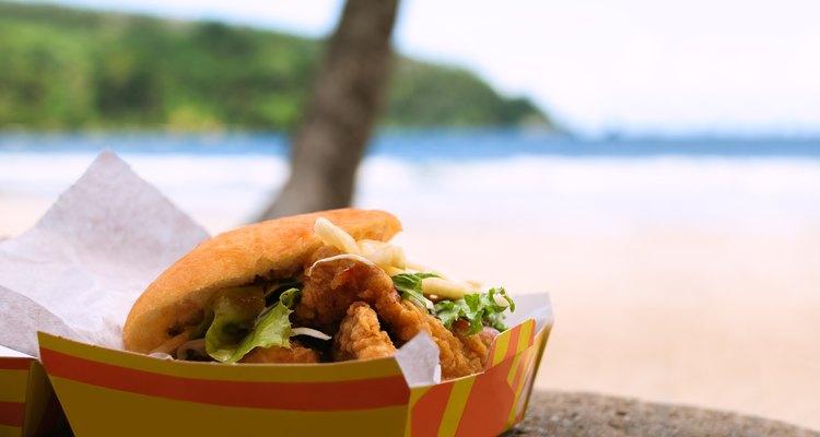 Fried shark and bake food by the beach Maracas Bay