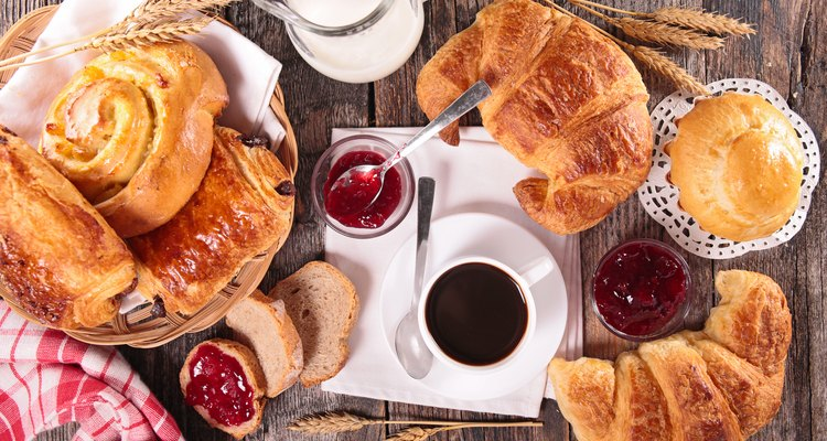 coffee cup,croissant and milk