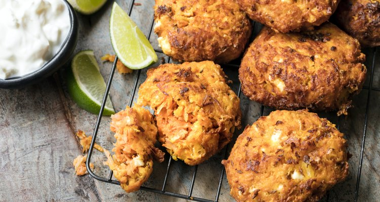 Fritters with Carrot Sweet Potato and Feta