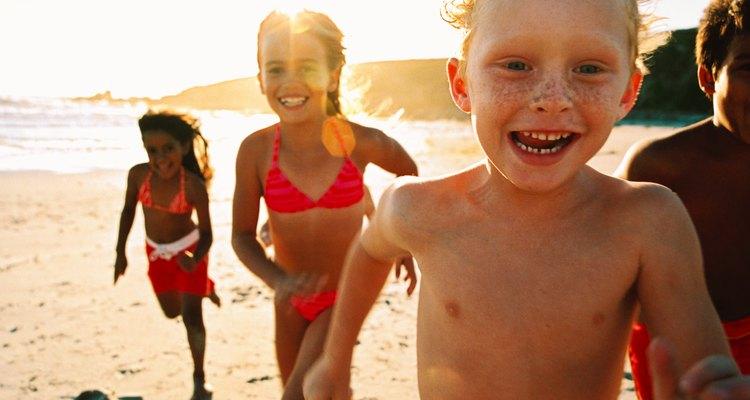 Kids running on the beach, Hampton Beach