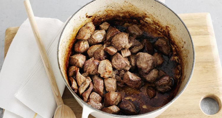 Browned meat in dutch oven