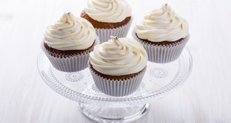 Homemade cupcakes with cream cheese icing