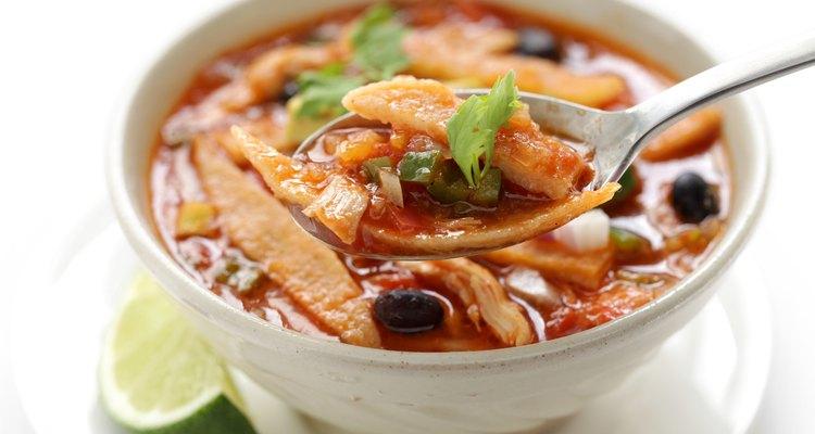 Homemade chicken tortilla soup in a bowl