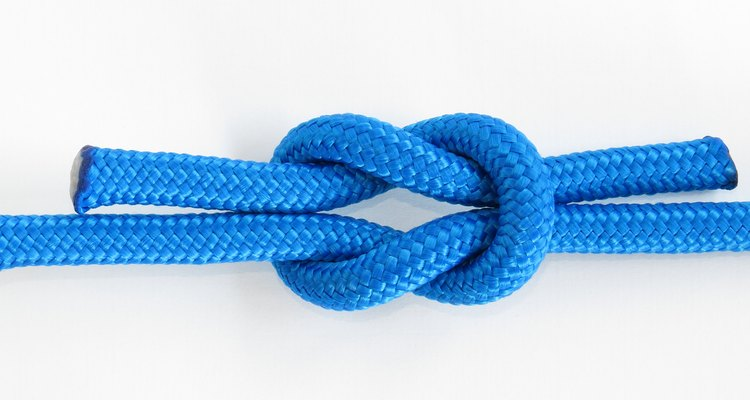 Reef knot, Square knot isolated on white background.