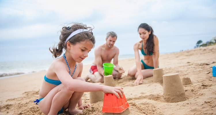 Family spending the day at the beach