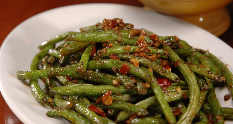 Close-up of a plate of spicy green beans