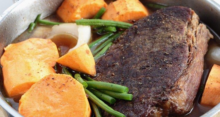 Pot roast with sweet potato side view