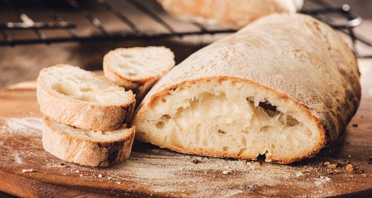 Fresh Italian bread on a cutting board