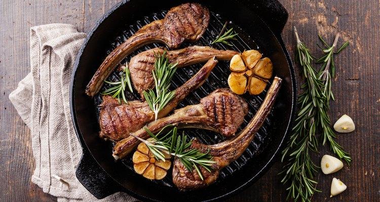 Roasted lamb ribs with rosemary and garlic