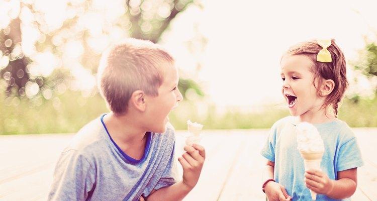 Kids enjoying homemade ice cream on a summer day