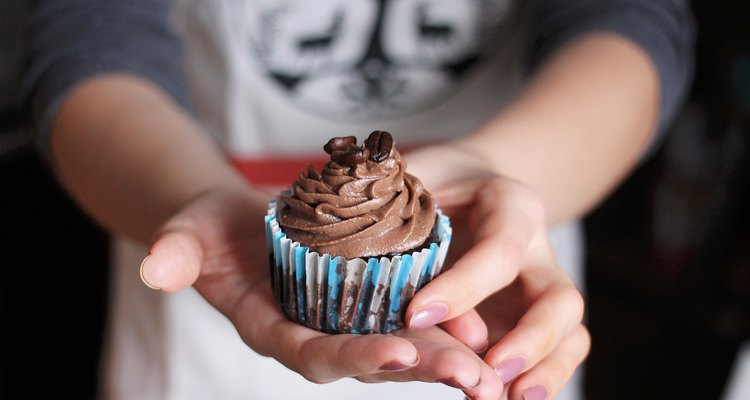 Chocolate cupcake with coffee beans