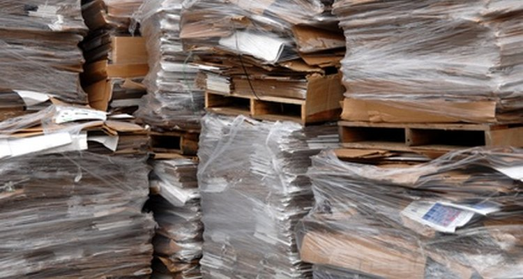 Cardboard boxes stacked for recycling