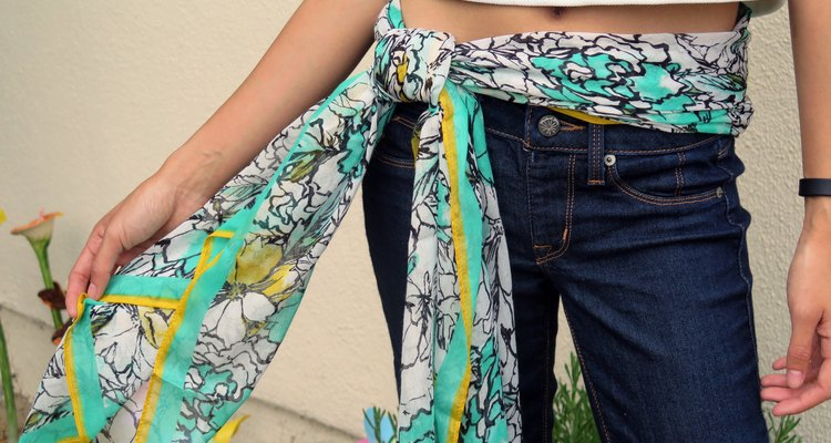 The completed belt scarf look.