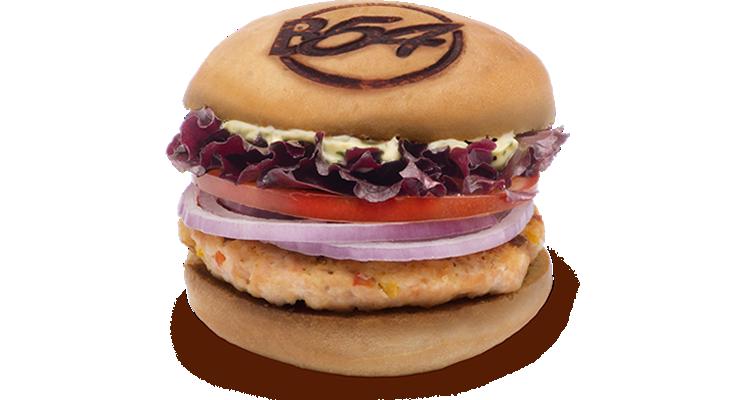 La hamburguesa de salmón de Burger 54 es una opción cautivadora.