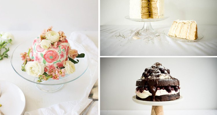 Three different tiered cakes.
