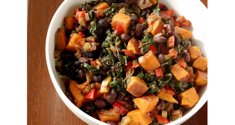 a bowl of black bean and vegetable soup