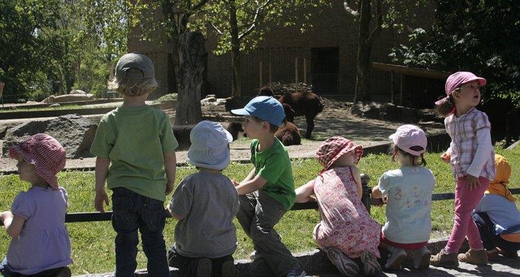 Niños alimentan animales en el Zoológico de Berlin.