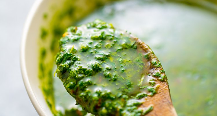 Homemade chimichurri sauce.