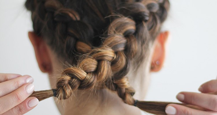 Two braids crossing over from one side to another