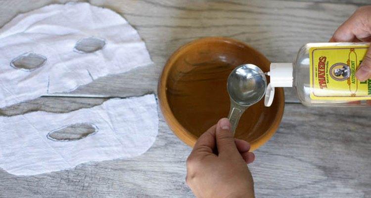 adding mask ingredients to bowl