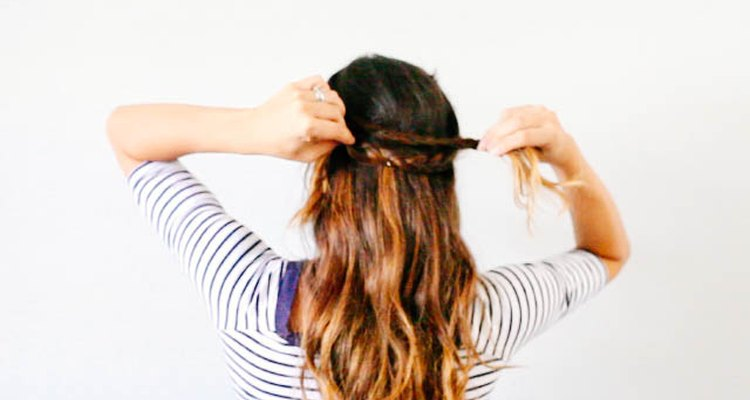 Loop the braid around the back of your hair.