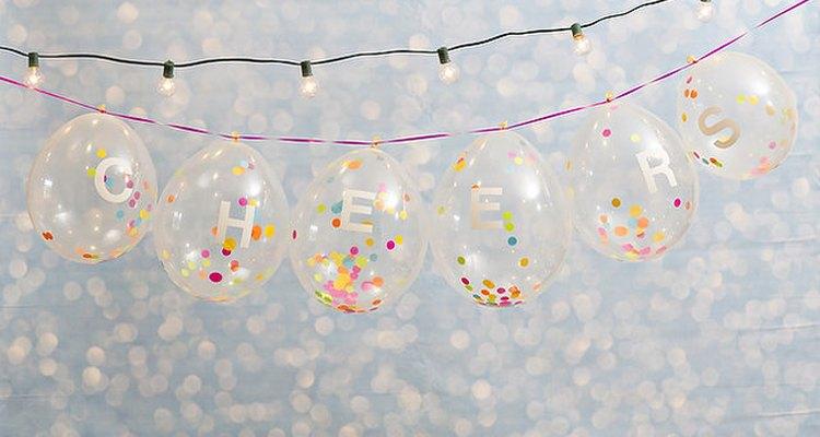 Confetti-filled balloon banner