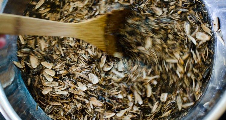 Mexa as sementes com força para soltar as cascas.