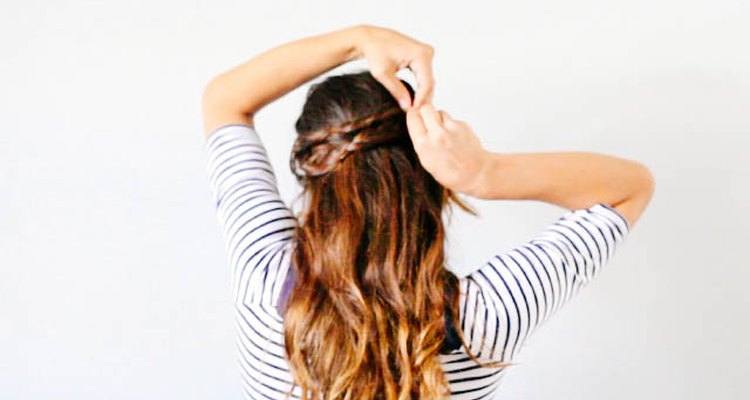 Secure the half crown braid with bobby pins.