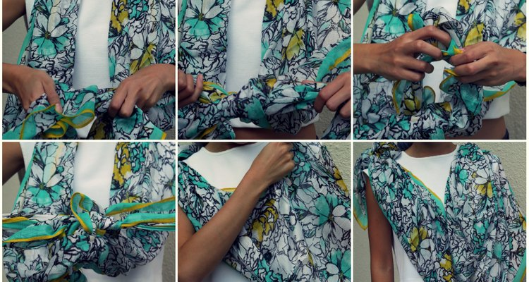 How to tie the shawl drape scarf style.