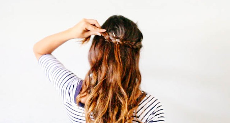 Pin the braid around the back of your head.
