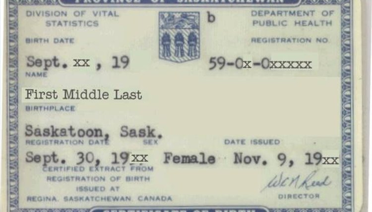 Sample Canadian Birth Certificate