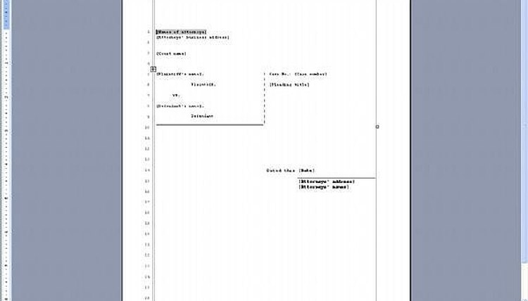 Pleading Paper Template for Legal Complaint in Word Processing Software Program