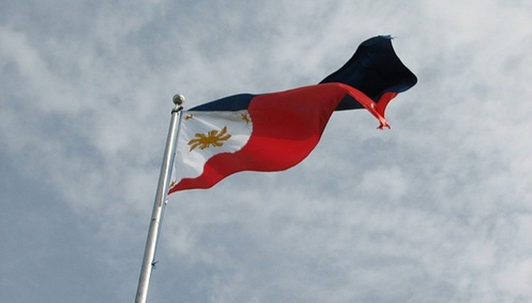 The Filipino flag waves in the wind.