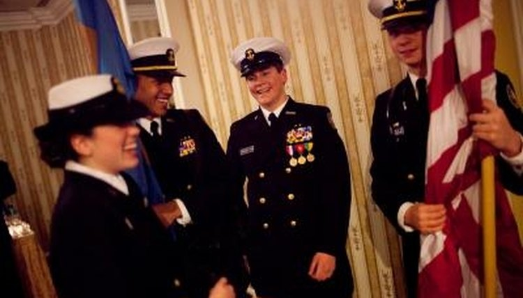 Color guard duties are one aspect of the JROTC program.
