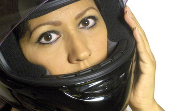 woman with motorcycle helmet