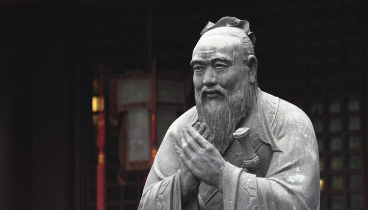 Statue of Confucius outside of temple.