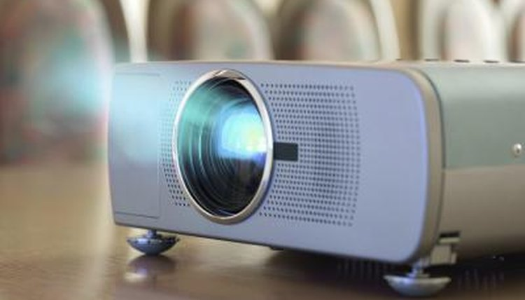 Close-up of projector in classroom.