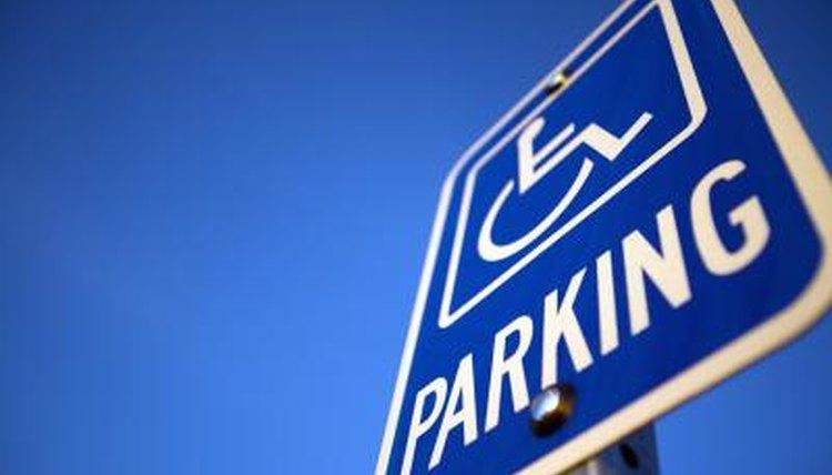 Blue disabled parking sign.
