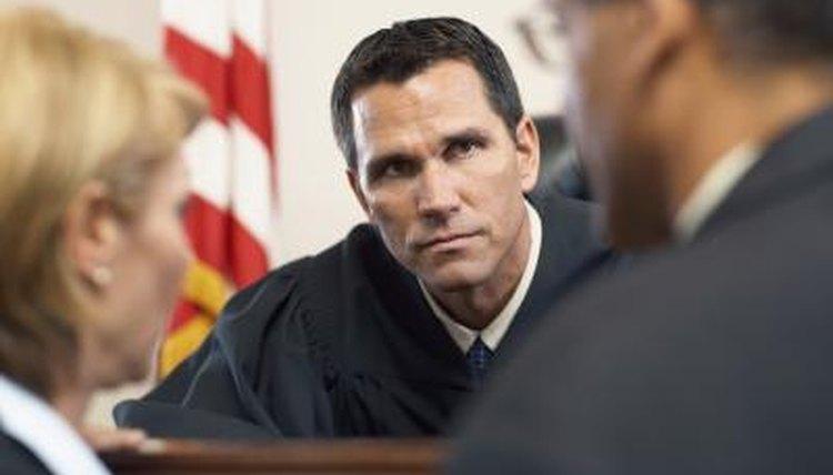 Judge listening to case.