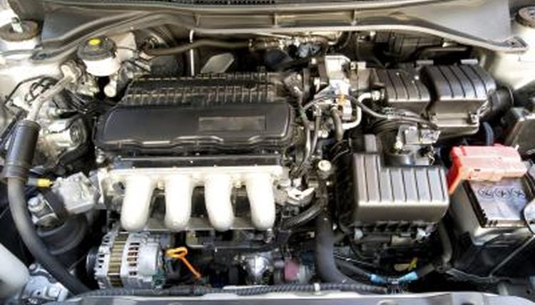 A close-up of a car engine.