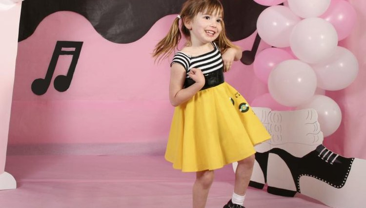 Preschooler dancing at sock hop