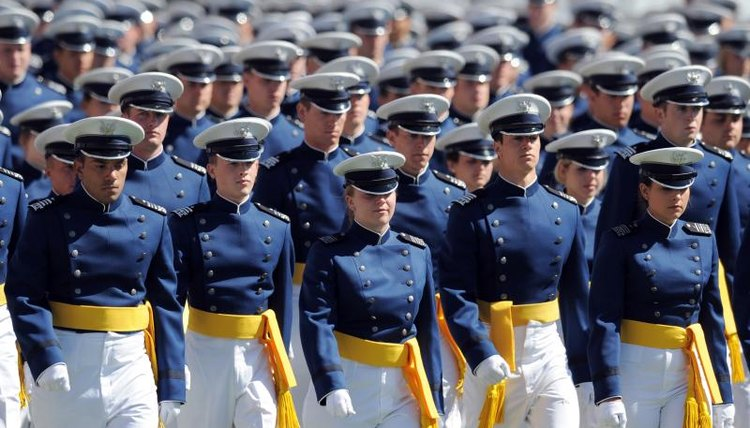 U.S. Air Force Academy cadets walk onto field for graduation
