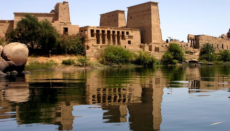 An Egyptian temple alongside the Nile.